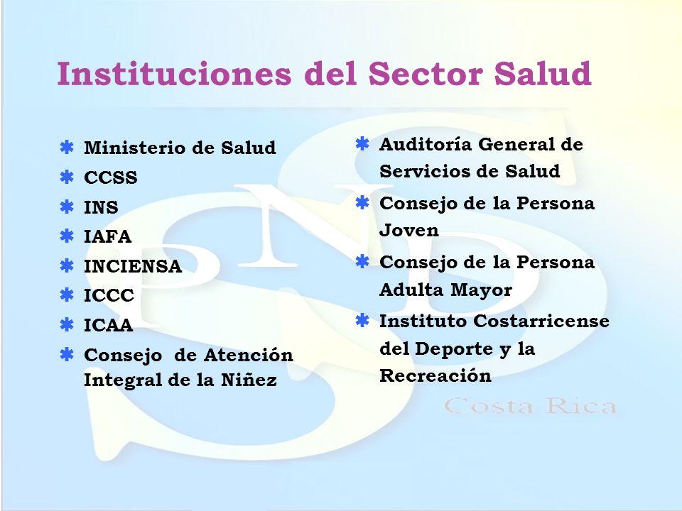 Instituciones del Sector Salud Ministerio de Salud CCSS INS IAFA INCIENSA ICCC ICAA Consejo de Atención Integral de la Niñez Auditoría General de Serv