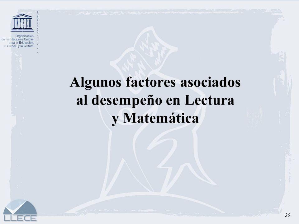 Algunos factores asociados al desempeño en Lectura y Matemática 36