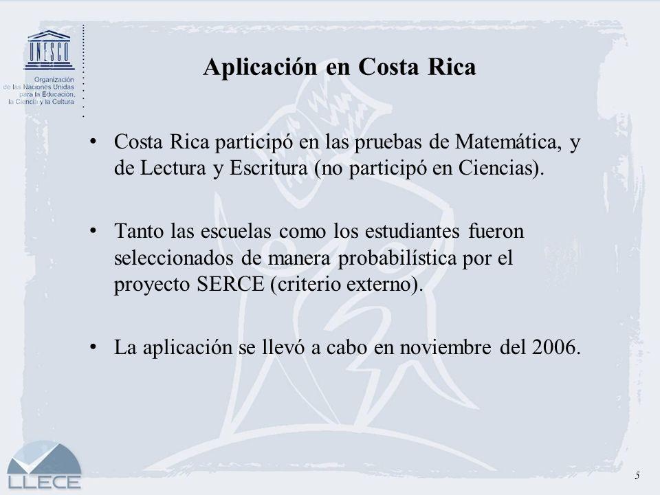 Aplicación en Costa Rica 5 Costa Rica participó en las pruebas de Matemática, y de Lectura y Escritura (no participó en Ciencias). Tanto las escuelas