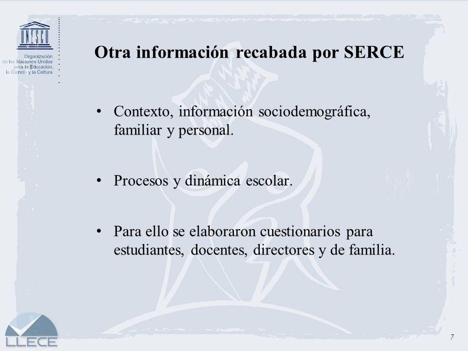 7 Otra información recabada por SERCE Contexto, información sociodemográfica, familiar y personal. Procesos y dinámica escolar. Para ello se elaboraro