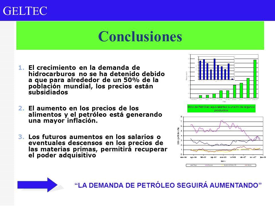G E LT E C Conclusiones 1.El crecimiento en la demanda de hidrocarburos no se ha detenido debido a que para alrededor de un 50% de la población mundia