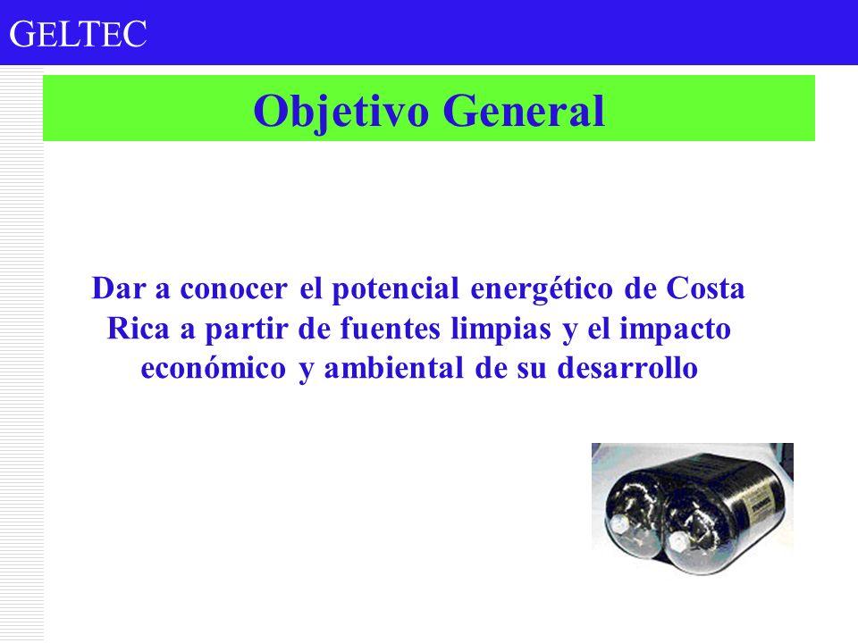 G E LT E C Objetivo General Dar a conocer el potencial energético de Costa Rica a partir de fuentes limpias y el impacto económico y ambiental de su d