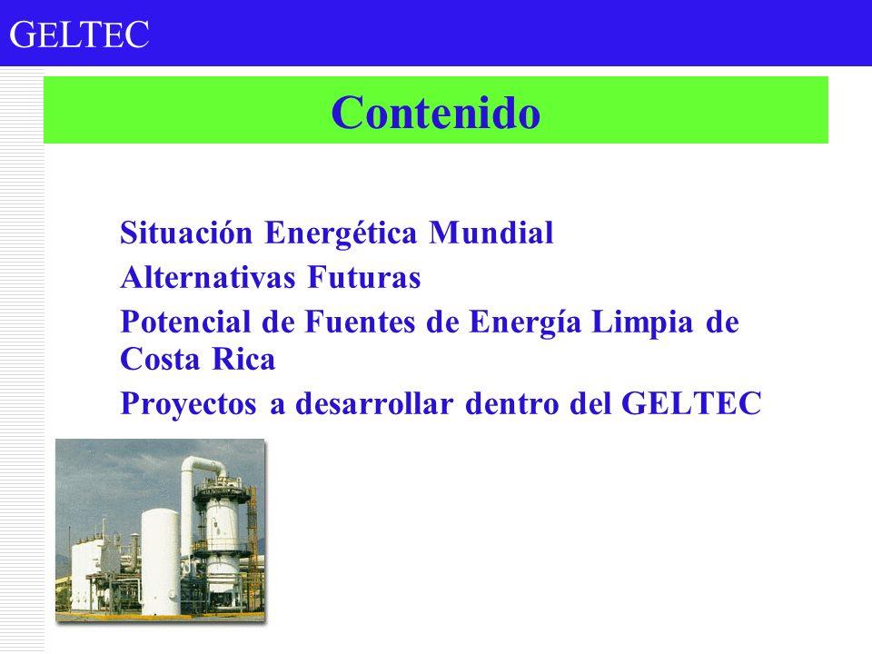 G E LT E C Contenido 1.Situación Energética Mundial 2.Alternativas Futuras 3.Potencial de Fuentes de Energía Limpia de Costa Rica 4.Proyectos a desarr