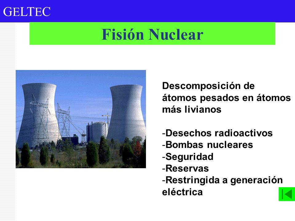 G E LT E C Descomposición de átomos pesados en átomos más livianos -Desechos radioactivos -Bombas nucleares -Seguridad -Reservas -Restringida a genera