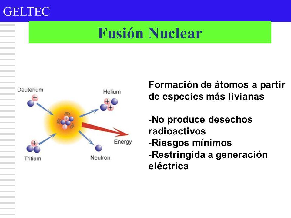 G E LT E C Formación de átomos a partir de especies más livianas -No produce desechos radioactivos -Riesgos mínimos -Restringida a generación eléctric