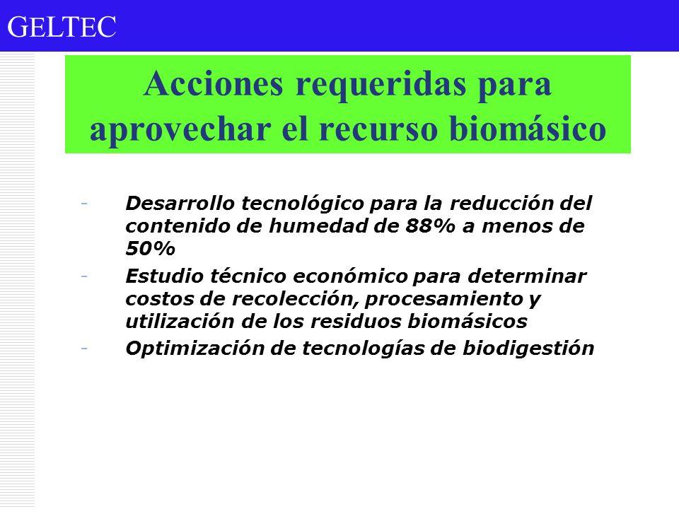 G E LT E C -Desarrollo tecnológico para la reducción del contenido de humedad de 88% a menos de 50% -Estudio técnico económico para determinar costos