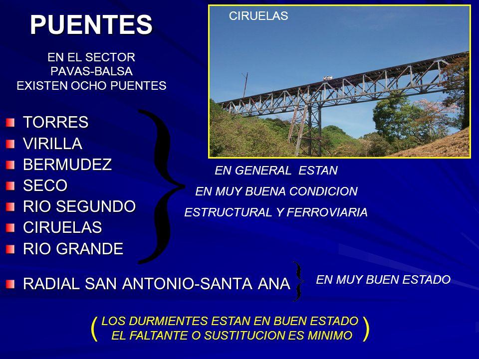 TORRESVIRILLABERMUDEZSECO RIO SEGUNDO CIRUELAS RIO GRANDE RADIAL SAN ANTONIO-SANTA ANA PUENTES PUENTES EN EL SECTOR PAVAS-BALSA EXISTEN OCHO PUENTES C