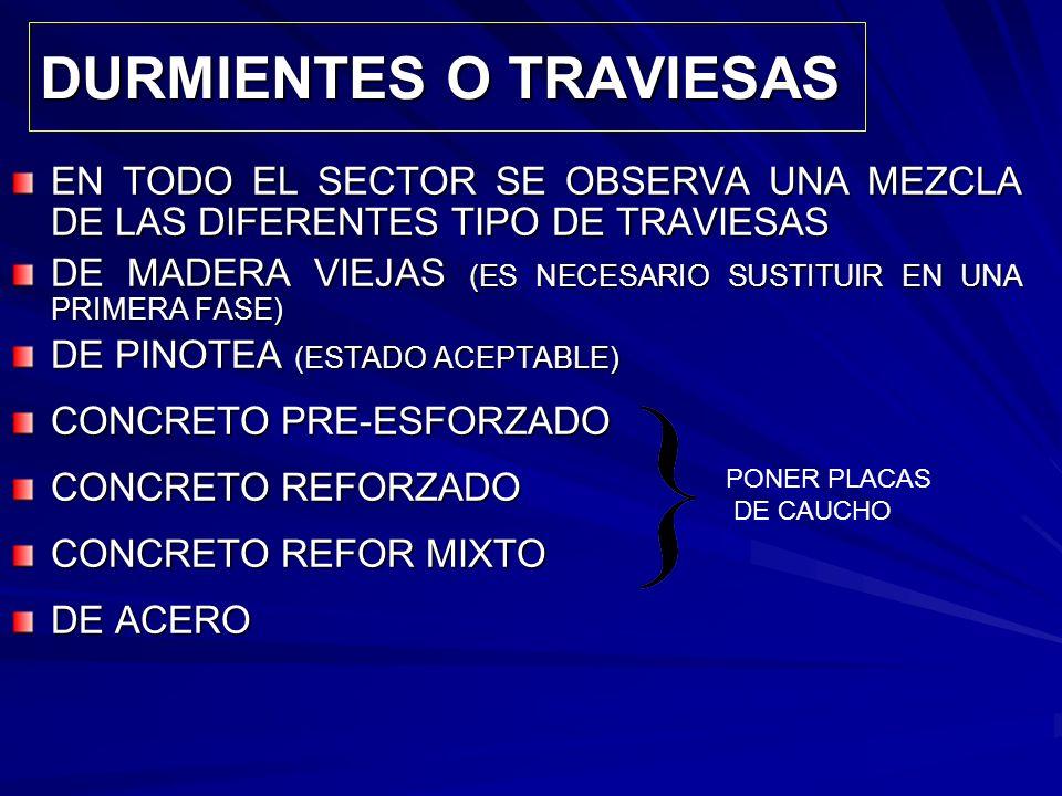 DURMIENTES O TRAVIESAS EN TODO EL SECTOR SE OBSERVA UNA MEZCLA DE LAS DIFERENTES TIPO DE TRAVIESAS DE MADERA VIEJAS (ES NECESARIO SUSTITUIR EN UNA PRI