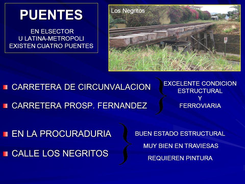 PUENTES PUENTES EN ELSECTOR U LATINA-METROPOLI EXISTEN CUATRO PUENTES EXCELENTE CONDICION ESTRUCTURAL Y FERROVIARIA BUEN ESTADO ESTRUCTURAL MUY BIEN E