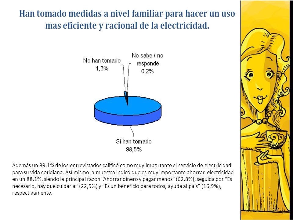 Además un 89,1% de los entrevistados calificó como muy importante el servicio de electricidad para su vida cotidiana. Así mismo la muestra indicó que