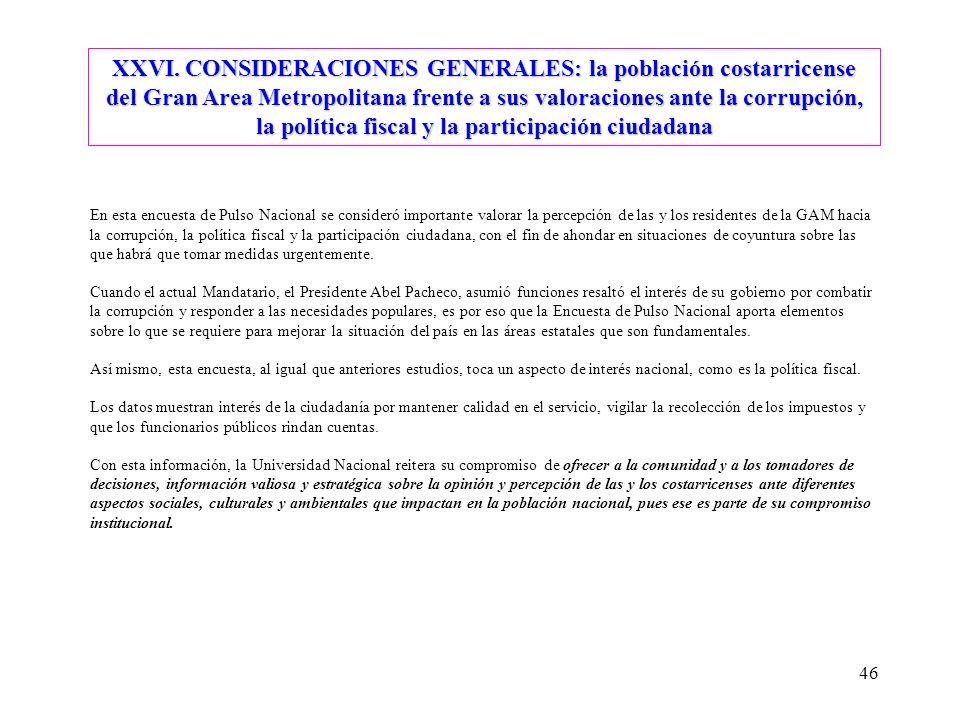 46 XXVI. CONSIDERACIONES GENERALES: la población costarricense del Gran Area Metropolitana frente a sus valoraciones ante la corrupción, la política f