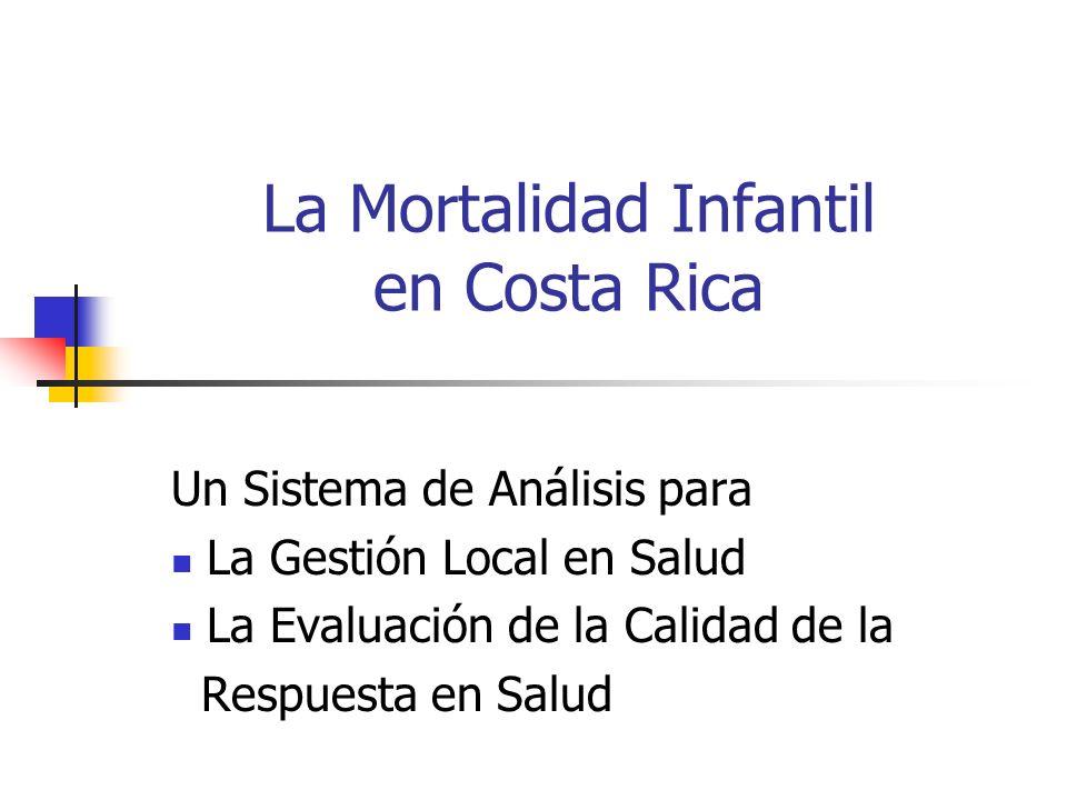La Mortalidad Infantil en Costa Rica Un Sistema de Análisis para La Gestión Local en Salud La Evaluación de la Calidad de la Respuesta en Salud