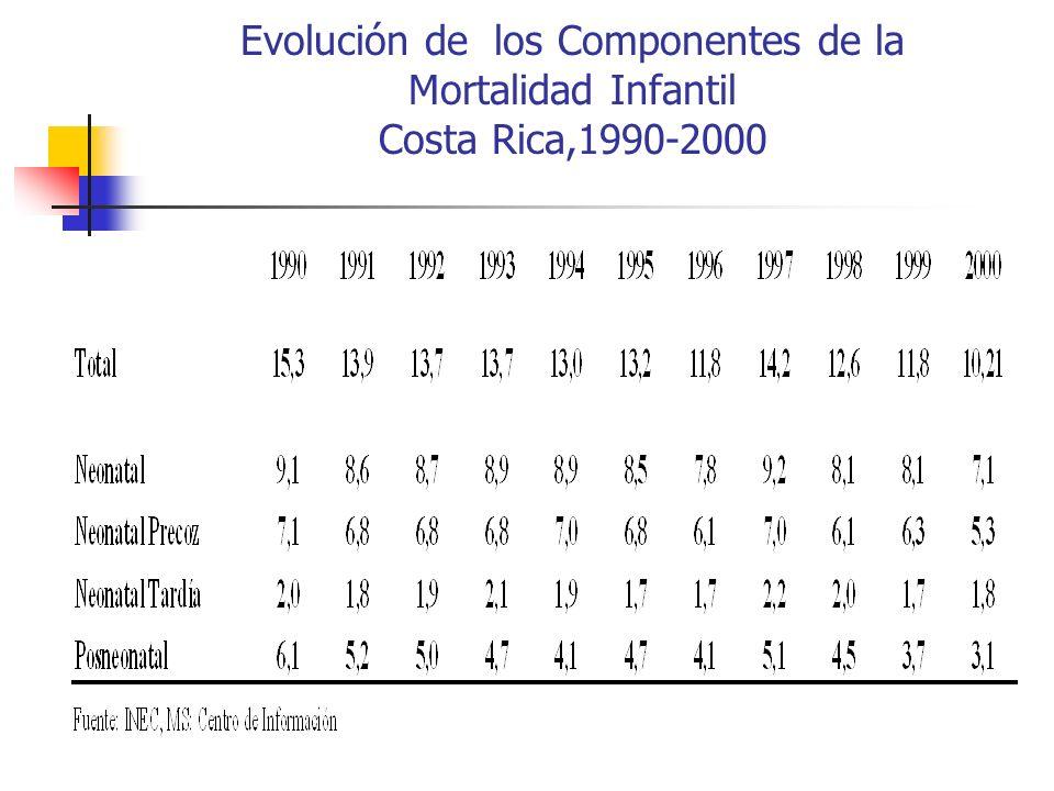 Evolución de los Componentes de la Mortalidad Infantil Costa Rica,1990-2000