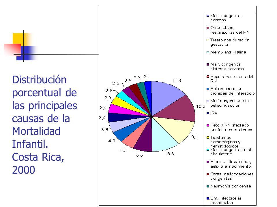 Distribución porcentual de las principales causas de la Mortalidad Infantil. Costa Rica, 2000
