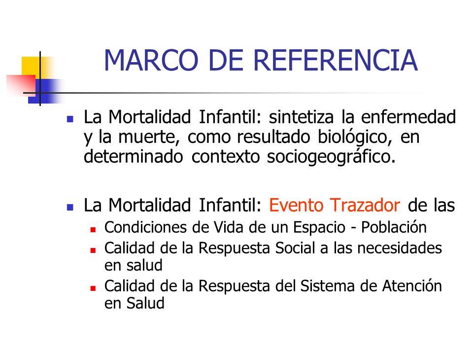 MARCO DE REFERENCIA La Mortalidad Infantil: sintetiza la enfermedad y la muerte, como resultado biológico, en determinado contexto sociogeográfico. La