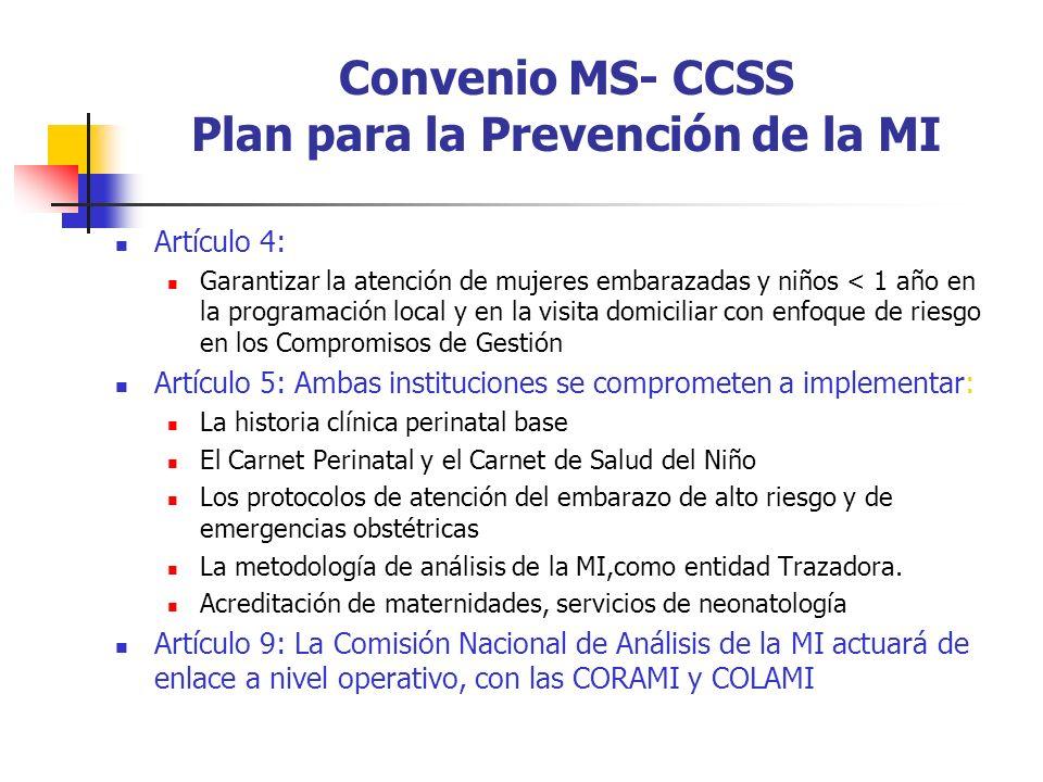 Convenio MS- CCSS Plan para la Prevención de la MI Artículo 4: Garantizar la atención de mujeres embarazadas y niños < 1 año en la programación local