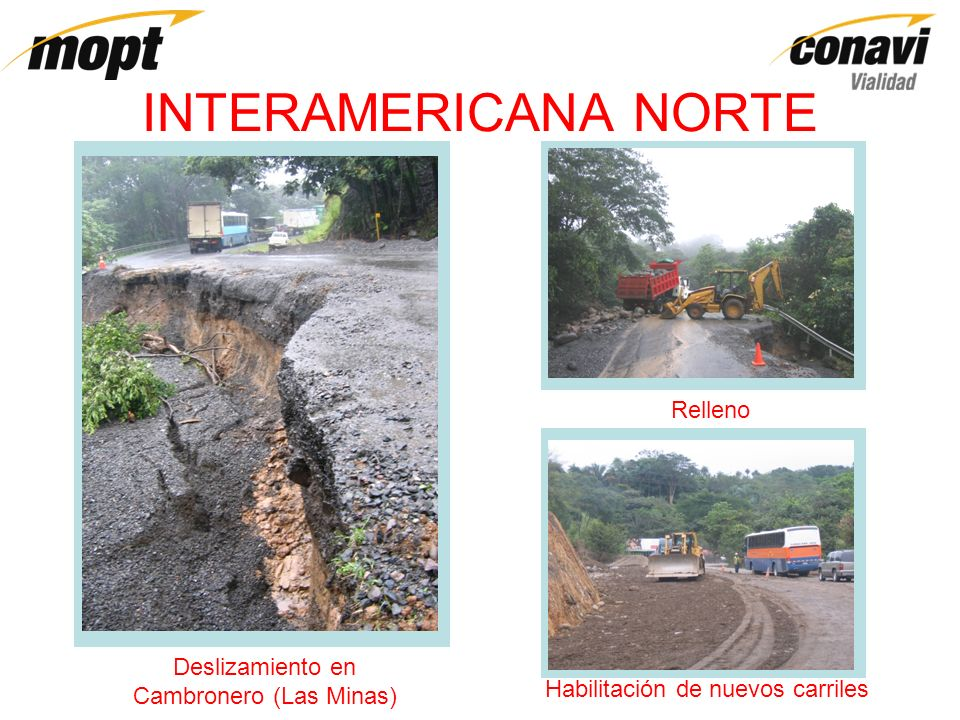 INTERAMERICANA NORTE Deslizamiento en Alto Santiago (San Ramón) Colocación de materialRestablecimiento de paso