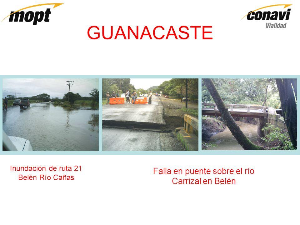 GUANACASTE Inundación de ruta 21 Belén Río Cañas Falla en puente sobre el río Carrizal en Belén