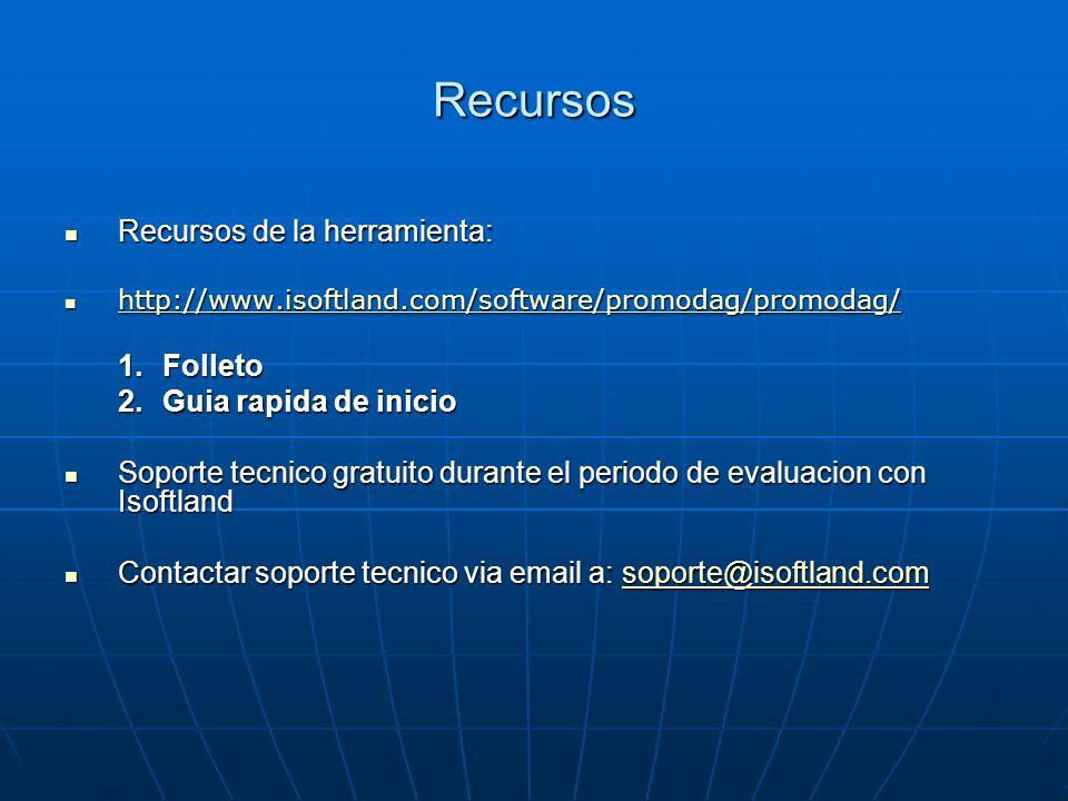 Recursos Recursos de la herramienta: Recursos de la herramienta: http://www.isoftland.com/software/promodag/promodag/ http://www.isoftland.com/softwar