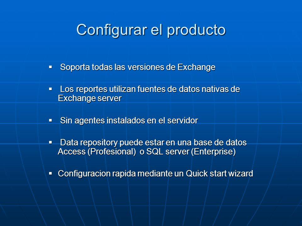 Configurar el producto Soporta todas las versiones de Exchange Soporta todas las versiones de Exchange Los reportes utilizan fuentes de datos nativas