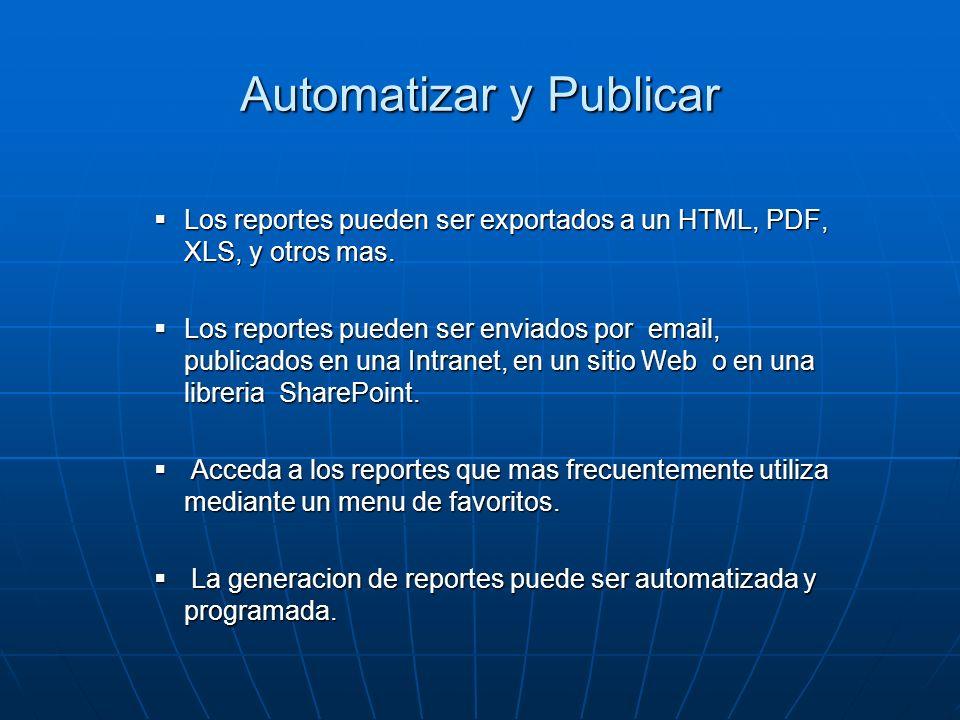 Automatizar y Publicar Los reportes pueden ser exportados a un HTML, PDF, XLS, y otros mas. Los reportes pueden ser exportados a un HTML, PDF, XLS, y