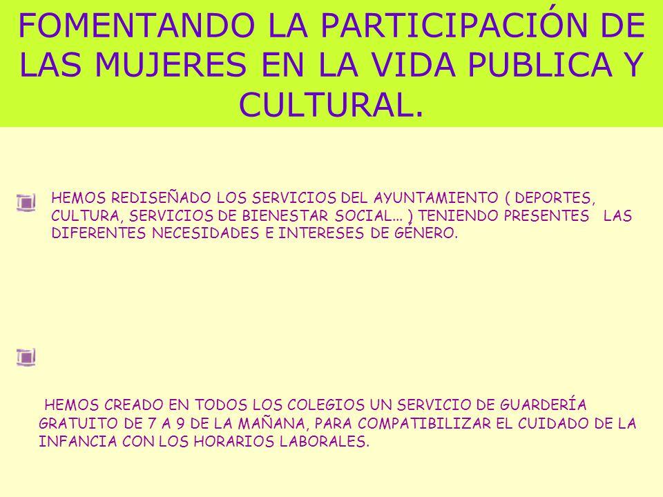 FOMENTANDO LA PARTICIPACIÓN DE LAS MUJERES EN LA VIDA PUBLICA Y CULTURAL. HEMOS REDISEÑADO LOS SERVICIOS DEL AYUNTAMIENTO ( DEPORTES, CULTURA, SERVICI