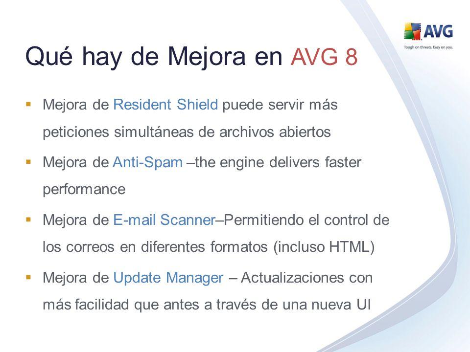 Qué hay de Mejora en AVG 8 Mejora de Resident Shield puede servir más peticiones simultáneas de archivos abiertos Mejora de Anti-Spam –the engine deli