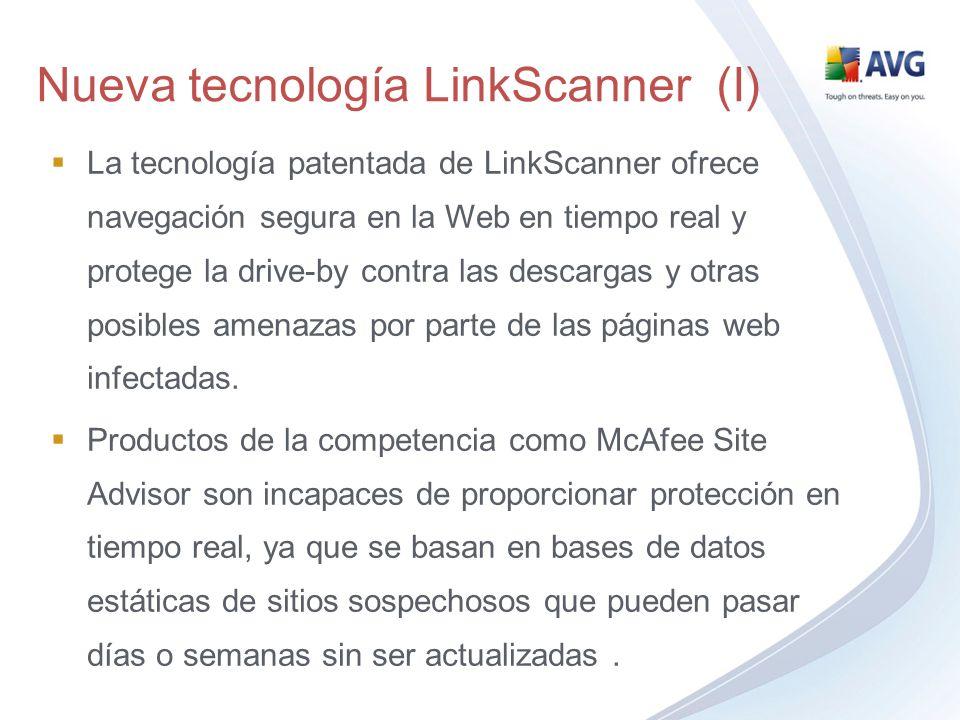 La tecnología patentada de LinkScanner ofrece navegación segura en la Web en tiempo real y protege la drive-by contra las descargas y otras posibles a