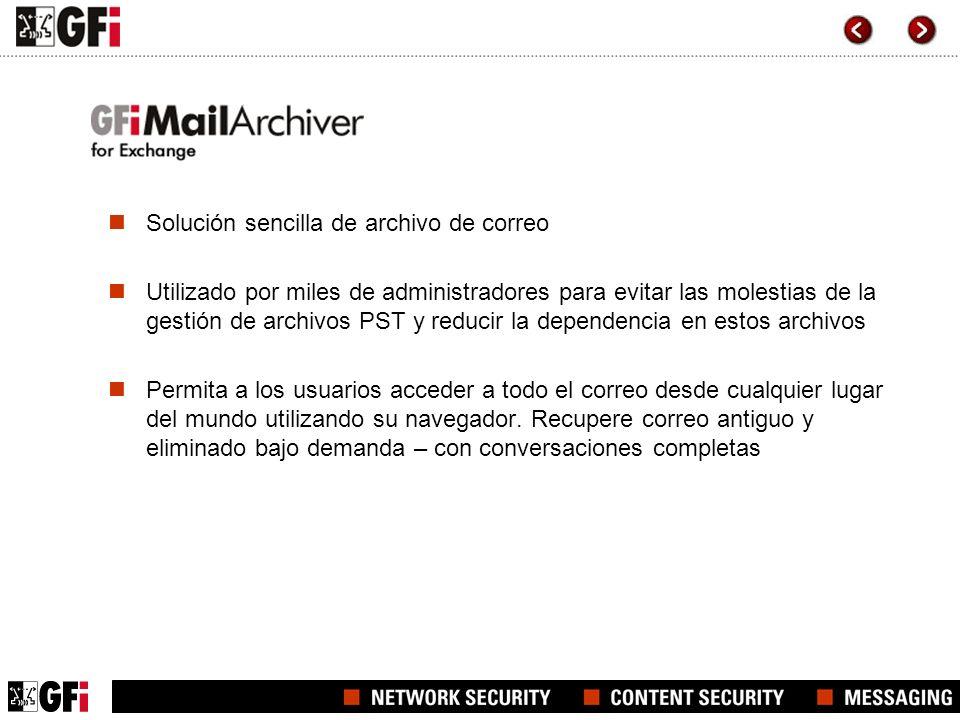 Solución sencilla de archivo de correo Utilizado por miles de administradores para evitar las molestias de la gestión de archivos PST y reducir la dep