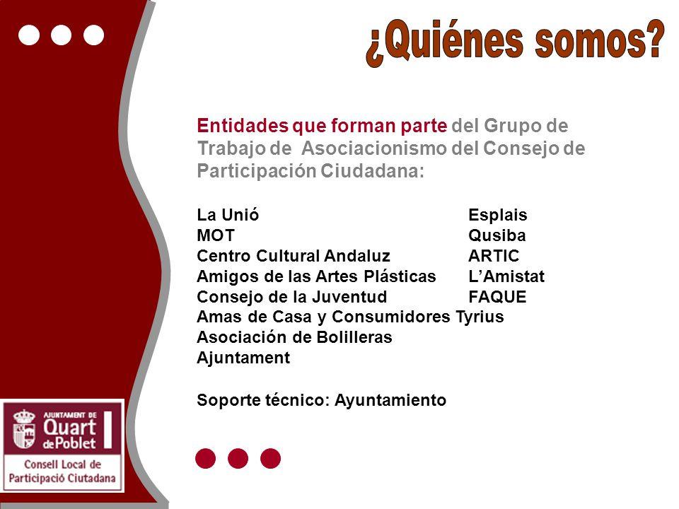 Entidades que forman parte del Grupo de Trabajo de Asociacionismo del Consejo de Participación Ciudadana: La UnióEsplais MOTQusiba Centro Cultural And