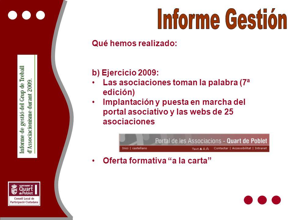 Qué hemos realizado: b) Ejercicio 2009: Las asociaciones toman la palabra (7ª edición) Implantación y puesta en marcha del portal asociativo y las webs de 25 asociaciones Oferta formativa a la carta