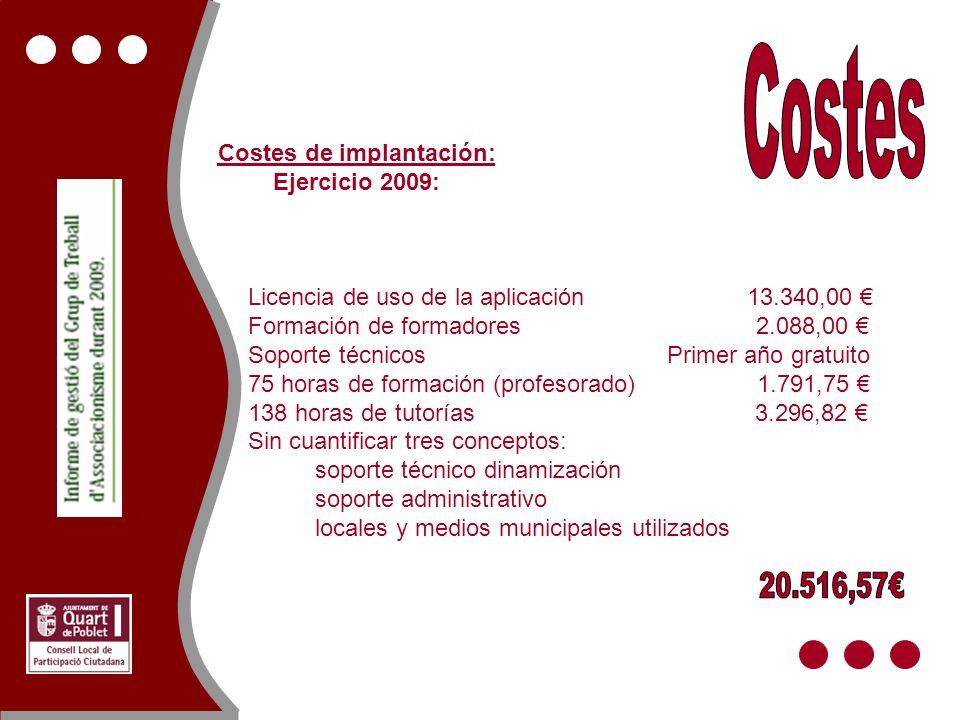 Licencia de uso de la aplicación 13.340,00 Formación de formadores 2.088,00 Soporte técnicos Primer año gratuito 75 horas de formación (profesorado) 1