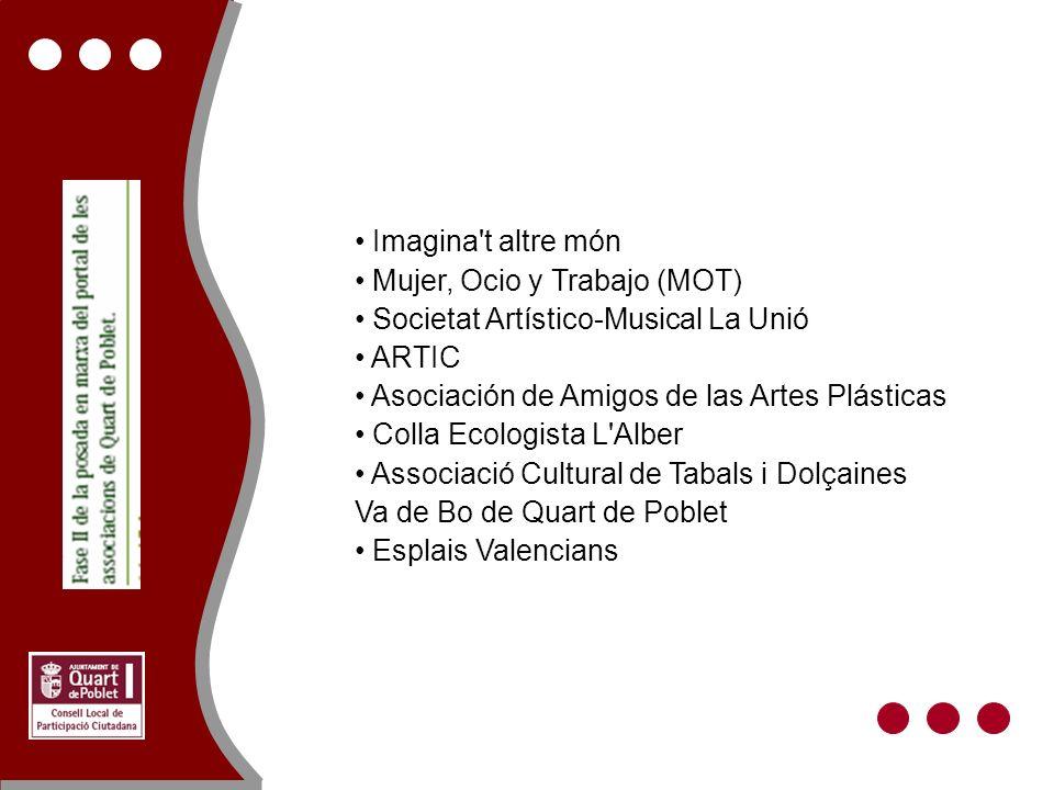 Imagina't altre món Mujer, Ocio y Trabajo (MOT) Societat Artístico-Musical La Unió ARTIC Asociación de Amigos de las Artes Plásticas Colla Ecologista