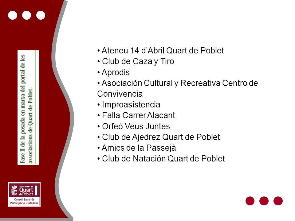 Ateneu 14 dAbril Quart de Poblet Club de Caza y Tiro Aprodis Asociación Cultural y Recreativa Centro de Convivencia Improasistencia Falla Carrer Alaca