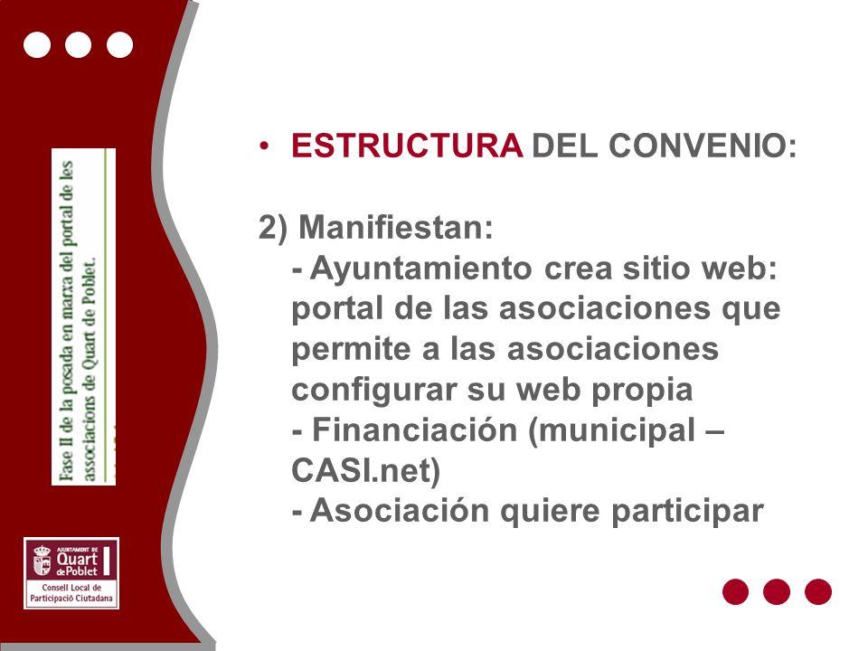 ESTRUCTURA DEL CONVENIO: 2) Manifiestan: - Ayuntamiento crea sitio web: portal de las asociaciones que permite a las asociaciones configurar su web propia - Financiación (municipal – CASI.net) - Asociación quiere participar