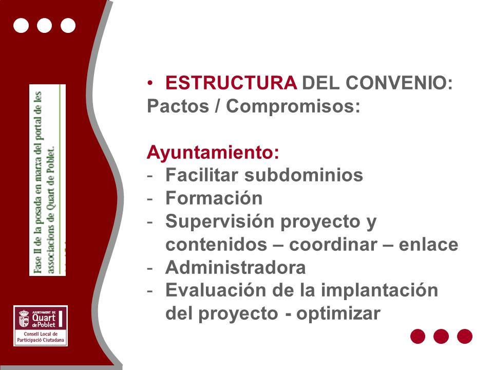 ESTRUCTURA DEL CONVENIO: Pactos / Compromisos: Ayuntamiento: -Facilitar subdominios -Formación -Supervisión proyecto y contenidos – coordinar – enlace