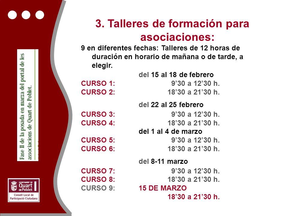 3. Talleres de formación para asociaciones: 9 en diferentes fechas: Talleres de 12 horas de duración en horario de mañana o de tarde, a elegir. del 15