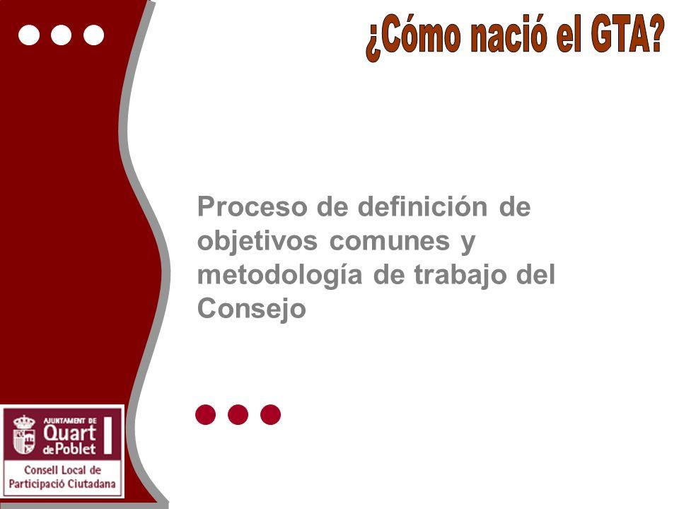 Proceso de definición de objetivos comunes y metodología de trabajo del Consejo