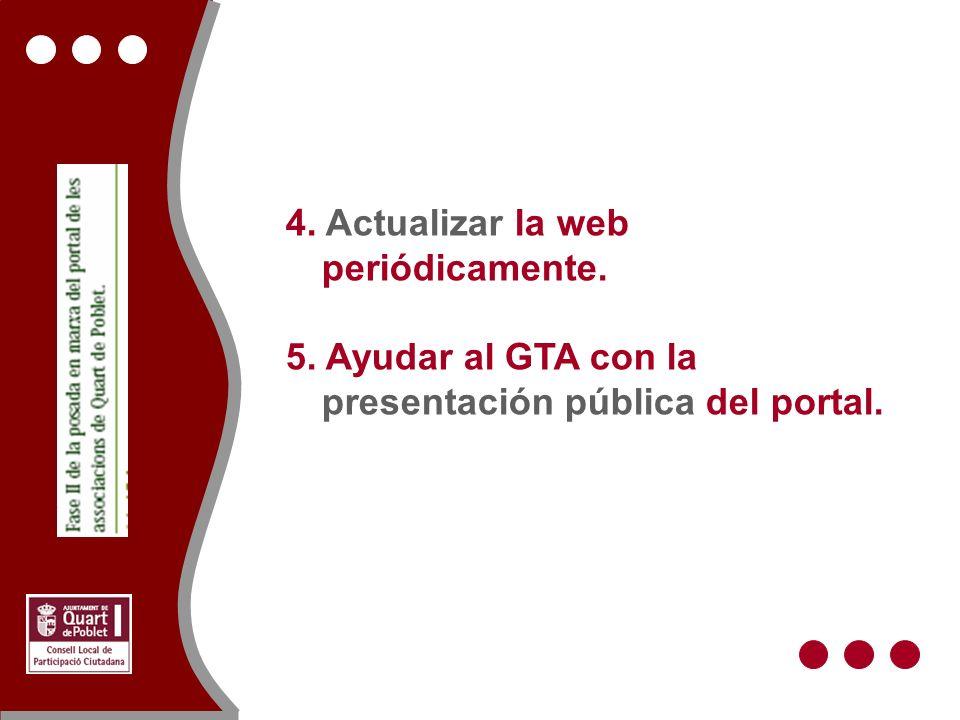 4. Actualizar la web periódicamente. 5. Ayudar al GTA con la presentación pública del portal.