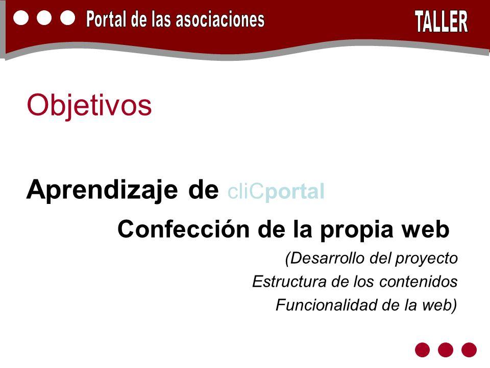 Objetivos Aprendizaje de cliCportal Confección de la propia web (Desarrollo del proyecto Estructura de los contenidos Funcionalidad de la web)