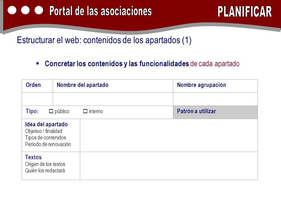 Concretar los contenidos y las funcionalidades de cada apartado Estructurar el web: contenidos de los apartados (1) OrdenNombre del apartadoNombre agr