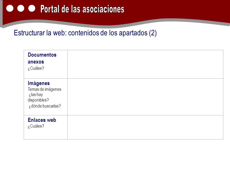 Estructurar la web: contenidos de los apartados (2) Documentos anexos ¿Cuáles? Imágenes Temas de imágenes ¿las hay disponibles? ¿dónde buscarlas? Enla