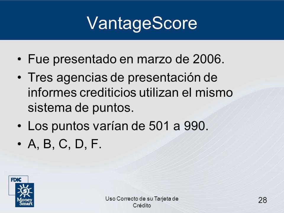 Uso Correcto de su Tarjeta de Crédito 28 VantageScore Fue presentado en marzo de 2006. Tres agencias de presentación de informes crediticios utilizan