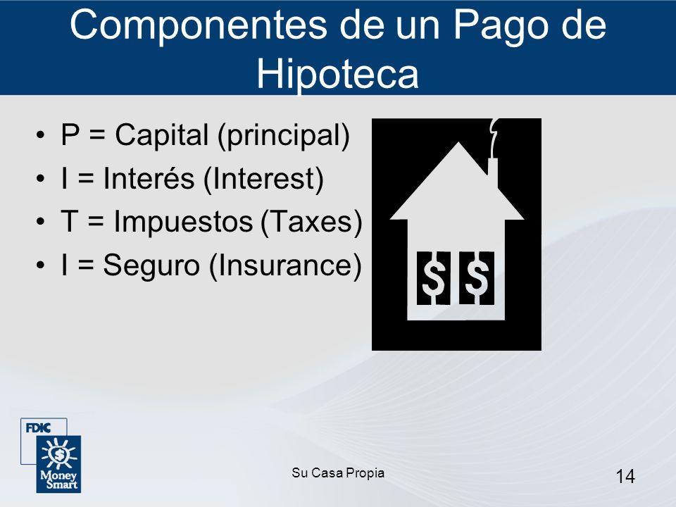 Su Casa Propia 14 Componentes de un Pago de Hipoteca P = Capital (principal) I = Interés (Interest) T = Impuestos (Taxes) I = Seguro (Insurance)