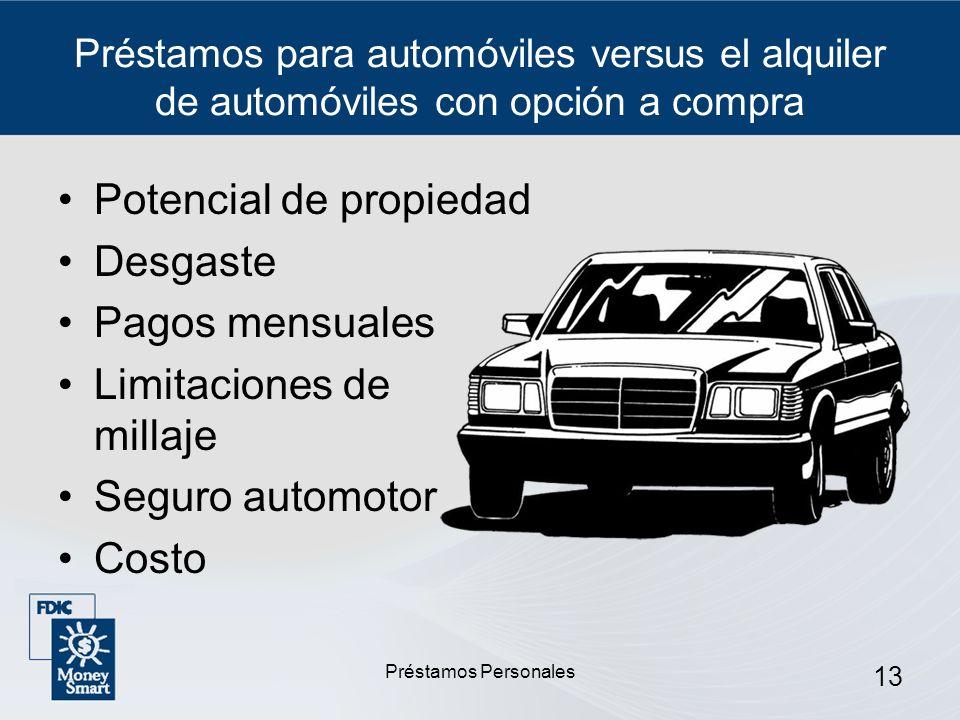 Préstamos Personales 13 Préstamos para automóviles versus el alquiler de automóviles con opción a compra Potencial de propiedad Desgaste Pagos mensual