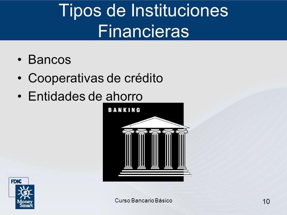Curso Bancario Básico 10 Tipos de Instituciones Financieras Bancos Cooperativas de crédito Entidades de ahorro