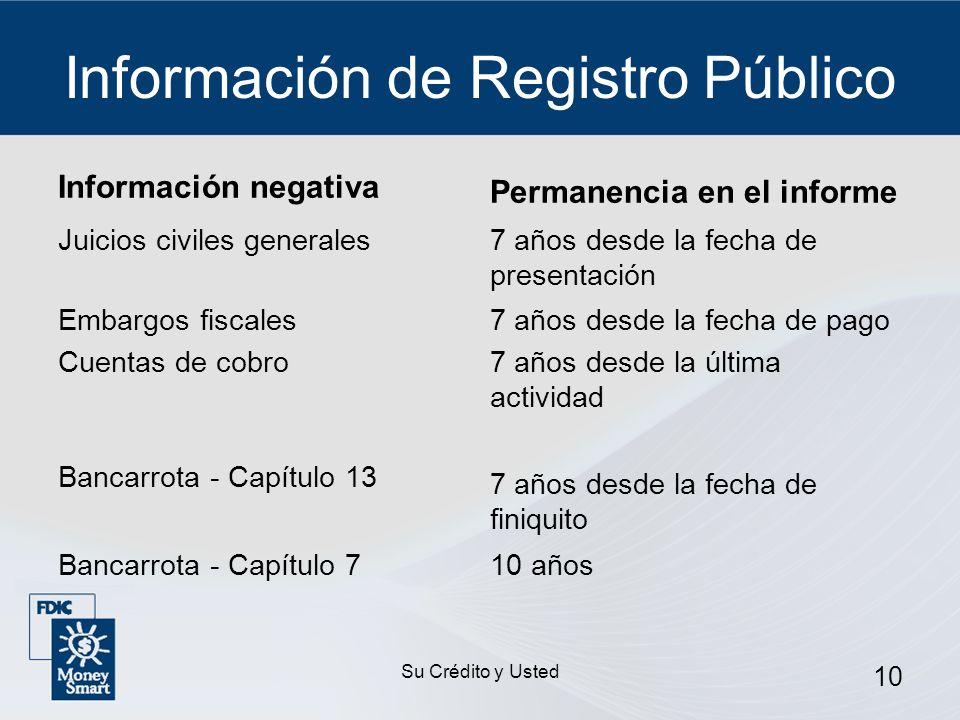 Su Crédito y Usted 10 Información de Registro Público Información negativa Permanencia en el informe Juicios civiles generales7 años desde la fecha de