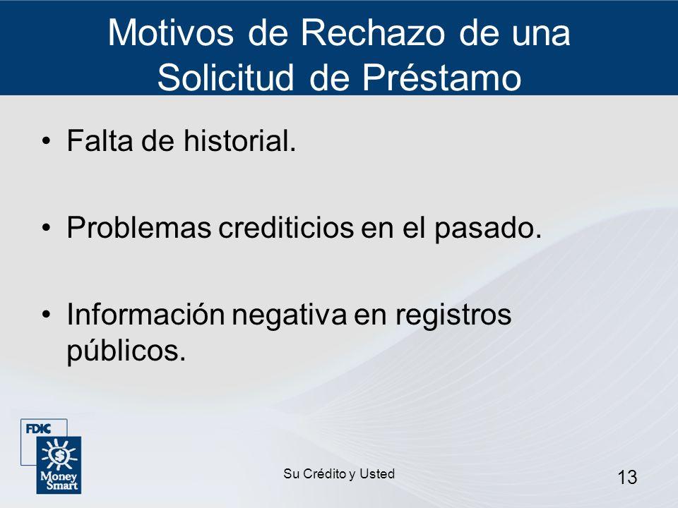Su Crédito y Usted 13 Motivos de Rechazo de una Solicitud de Préstamo Falta de historial. Problemas crediticios en el pasado. Información negativa en