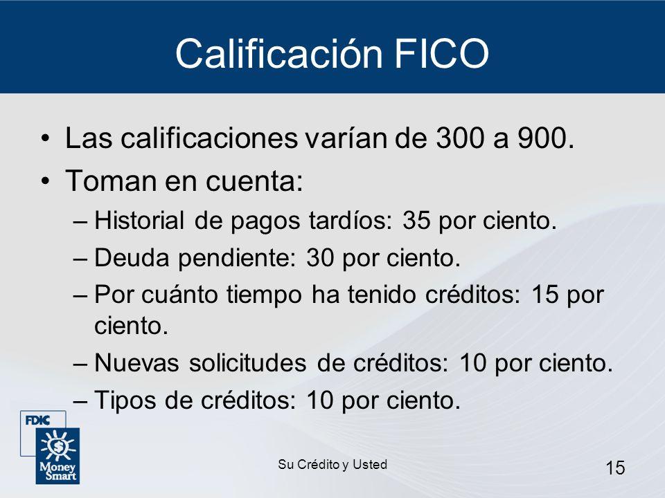 Su Crédito y Usted 15 Calificación FICO Las calificaciones varían de 300 a 900. Toman en cuenta: –Historial de pagos tardíos: 35 por ciento. –Deuda pe