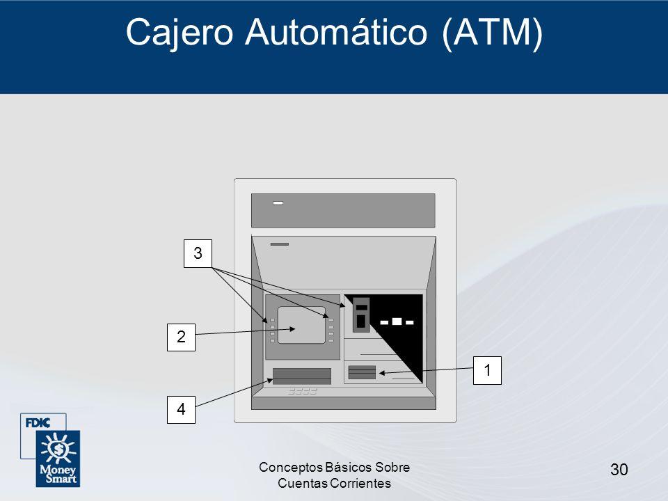 Conceptos Básicos Sobre Cuentas Corrientes 30 Cajero Automático (ATM) 1 3 2 4